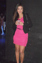 hot pink Shen Collection dress - black liu jo blazer - black 255 Chanel bag