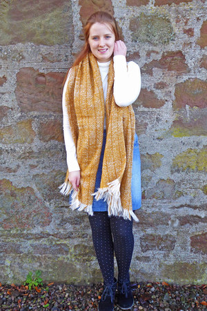 black Clarks boots - mustard M&S scarf - white Primark top - blue next skirt