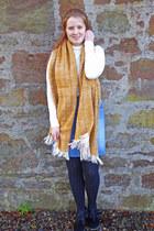 black Clarks boots - mustard M&S scarf - white Primark top - blue next skirt