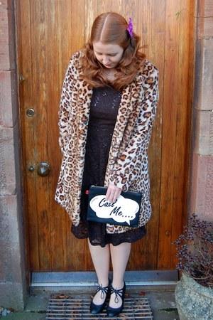 black Ronni Nicole dress - brown F&F coat - black Accessorize bag