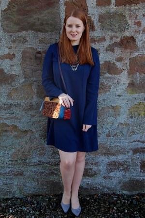navy H&M dress - brown Accessorize bag - heather gray Twinkle Deals heels