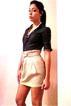 blue one piece shirt - blue royal blue Forever 21 shoes - beige Forever 21 skirt