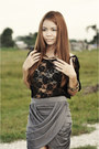 Bronze-animal-print-so-fab-heels-charcoal-gray-draped-own-skirt