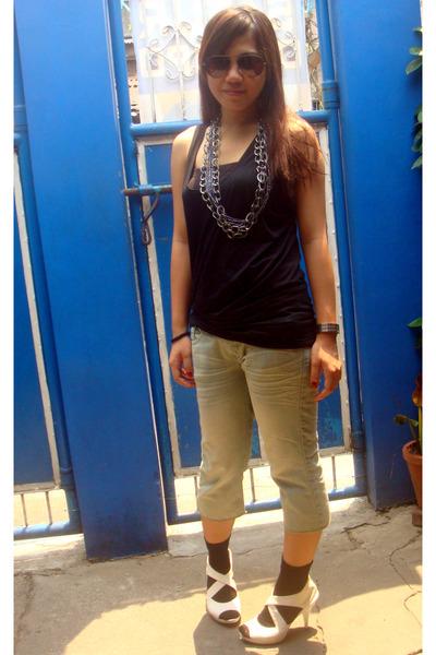 black top - blue pants - white online shoes - silver Bazaar accessories - brown