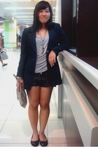 navy a-cut blazer - black shorts - heather gray top