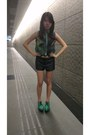 Green-platform-asos-shoes-collared-sheer-runway-bandits-shirt-black-shorts
