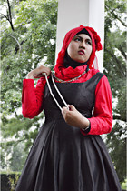 black Agenda dress - red shirt - red scarf - DIY necklace - watch