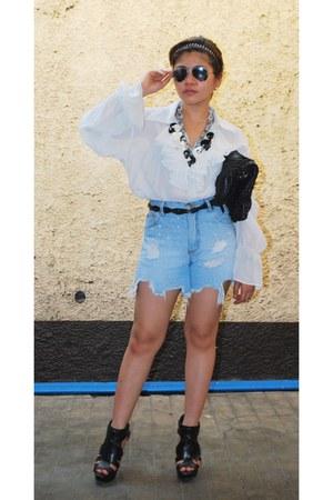 shorts - white sheer top - black Zara heels
