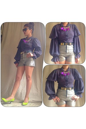 sheer gray Random find from hk blouse - tnc shorts - spike tnc belt