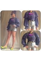 sheer gray Random find from hk blouse - tnc shorts - spike tnc belt