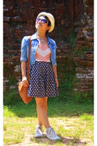 navy skirt - cream hat - burnt orange bag - doves and heart Accessorize necklace