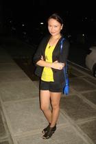 black vise versa blazer - yellow green sleeveless top - black Kamiseta shorts -
