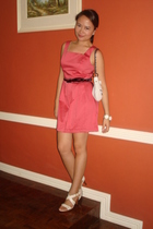 coral dress - Mango purse - PeopleArePeople belt - Taiwan white shoes with gold