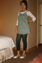 Plains&Prints top - SM Dept Store green and yellow top - dark green tights - whi