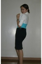 CottonOn top - Freeway skirt - jacket - Robinsons Dept Store belt - Charles & Ke