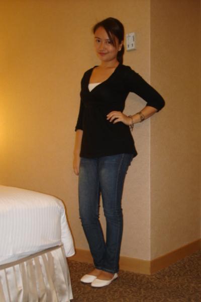 Zara top - Mango white tube top - jeans - white flats