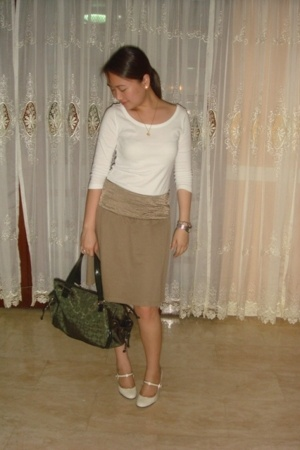 Mango top - Mango olive green skirt with satin waist - Mango green bag - Celine