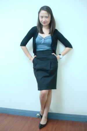 black cardigan - Mango top - Mango skirt - charles&keith shoes - Aldo watch
