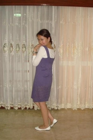 Kamiseta purple knitted dress - Folded & Hung top - Greenhills shoes - leggings