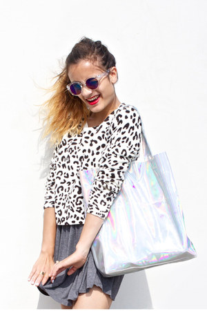 holographic Choies bag - Urban Outfitters dress - H&M sunglasses - H&M jumper
