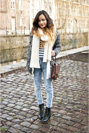 River Island shoes - Cheap Monday jeans - DIY scarf - thrifted bag