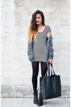 stripes H&M dress - leather River Island boots - pieces bag