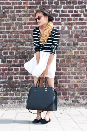 stripes Forever 21 top - H&M bag - American Apparel sunglasses