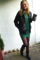 GINA TRICOT dress - GINA TRICOT accessories - dressmann jacket - DinSko boots -