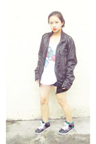 black motorcycle jacket - black skate zoo york shoes - black Herbench shorts