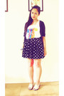 Heart-print-skirt-graphic-artwork-top-hooded-jewels-cardigan-liliw-wedges