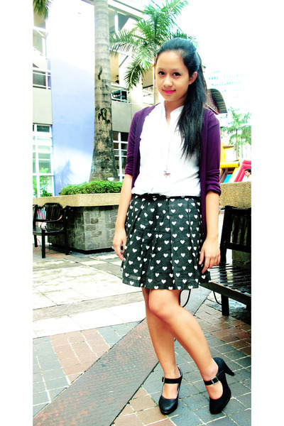 black S&H pumps - black skirt - purple Jewel cardigan - white Jewel blouse