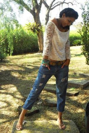 blue Zara jeans - camel Alexandre Herchcovitch belt