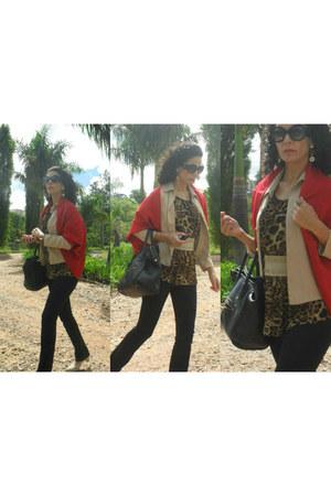 black zoomp pants - dark brown Zara blouse - dark khaki Baluarte belt