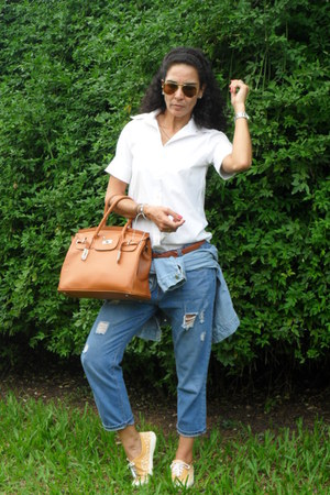 white Talita Kume shirt - blue Zara pants - orange conga flats