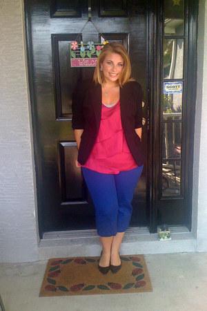 black blazer - hot pink blouse - cobalt blue pants - black heels