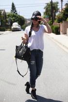 Asos Hat hat - Fossil Booties boots - boyfriend Fidelity Denim jeans