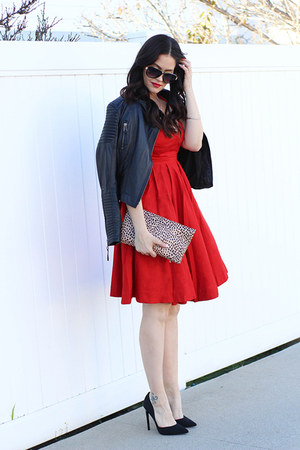 Kas New York dress - Lookbook Store jacket - JustFab bag