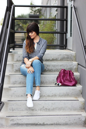 watch - jeans - bag - sunglasses - blouse - sneakers