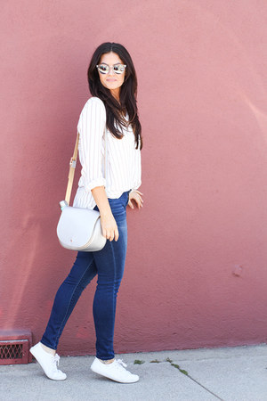 white Sole Society sunglasses - blue Dear John jeans - silver deux lux bag