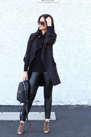 black Dailylook jacket - black bella luxx sweater - black Express leggings