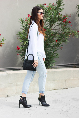jeans - bag - glasses - blouse