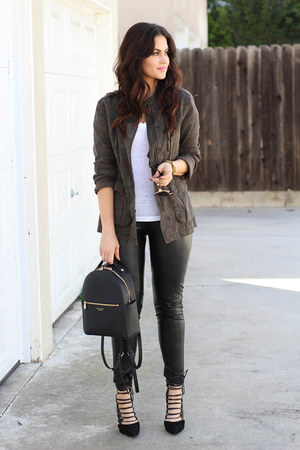 black Chaser t-shirt - army green Sanctuary jacket - Henri Bendel bag
