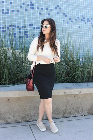 J Slides shoes - JCrew sweater - skirt