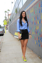neon Aldo pumps - zippers H&M skirt - chambray Gap top
