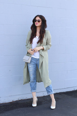 white Chaser t-shirt - light blue Jennifer Lopez jeans - green asos jacket