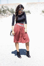 burnt orange JustFab skirt - black JustFab shoes - silver deux lux bag