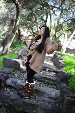 bearpaw boots - Urban Outfitters leggings - Forever 21 top - Nordstrom cardigan