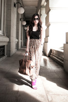 tan Celine bag - hot pink Zara heels - brown Zara pants