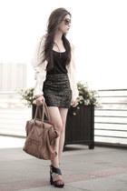 tan Celine bag - blue balenciaga heels
