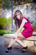 brick red adela rose dress - brown Jimmy Choo heels